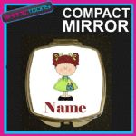 RED HAIR GIRLS PERSONALISED NAME COMPACT LADIES METAL HANDBAG GIFT MIRROR